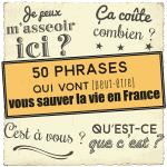 Poster vocabulaire A1-A2 : 50 phrases qui vont vous sauver la vie en France (+BONUS)